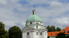 White church with green top Stock Footage