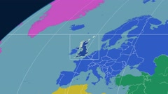 United Kingdom - 3D tube zoom (Kavrayskiy VII projection). Continents - stock footage