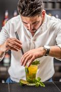 Bartender preparing mojito cocktail - stock photo