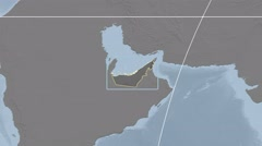 United Arab Emirates - 3D tube zoom (Mollweide projection) Stock Footage