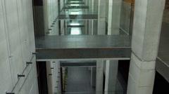 Bridges between different floors in a museum Stock Footage
