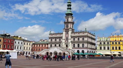 Beautiful square in the capital on a sunny day Stock Footage