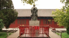 Statue of Confucius in the temple of Confucius in Beijing, China. Stock Footage
