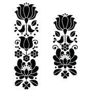 Kalocsai black embroidery - Hungarian floral folk art long patterns Stock Illustration