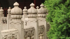 View to the stone pillars in the temple of Confucius in Beijing, China. Stock Footage