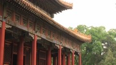 View to the red walls in the temple of Confucius in Beijing, China. Stock Footage