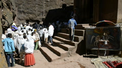 Pilgrims in front of the church of St. George in Lalibela, Ethiopiaek184 Stock Footage