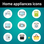 Shopping home appliances flat icon set on blue background. Each icon in separ - stock illustration