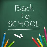 Back to school  written with chalk on blackboard vector illustration, isolate Stock Illustration