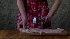 Girl in the Kitchen Uses a Special Meat Hammer. Stock Footage