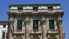 Vicenza - Piazza dei Signori - The front-side of the Loggia del Capitanio - stock footage