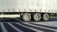 Large delivery truck is moving on highway, Side view. - stock footage