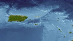 United States Virgin Islands - 3D tube (Mollweide). Satellite Stock Footage