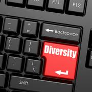 Red enter button on computer keyboard, Diversity word Stock Illustration