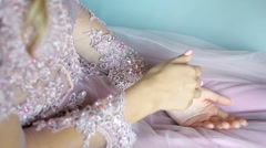 young sexy blonde girl in pink lace dress - stock footage