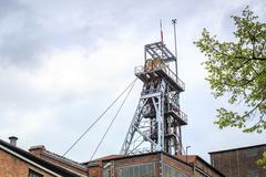 Mining shaft. Coal has been excavated on Silesia for years. Stock Photos