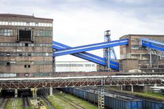 Mining infrastructure. Shaft, conveyors and buildings . Stock Photos
