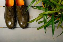 Green lacquered oxford shoes on wooden background near flower pot. Top view.  Stock Photos