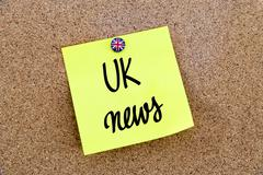 Yellow paper note pinned with Great Britain flag thumbtack and text UK News - stock photo
