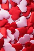 Mix of red and pink hearts Stock Photos