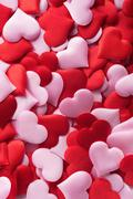 Mix of red and pink hearts - stock photo