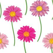 Seamless pattern with colorful gerbera flowers. Vector illustration - stock illustration