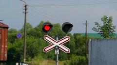 Railway Traffic Light. Stock Footage