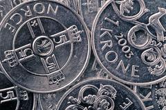Norwegian krone background Stock Photos