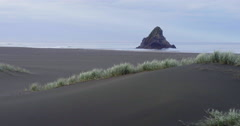 Aerial drone over sandunes on karekare beach, Auckland, New Zealand Stock Footage