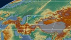 Uzbekistan - 3D tube zoom (Mollweide projection). Relief - stock footage