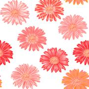 Seamless background with pink and purple gerbera. Vector EPS-10 - stock illustration