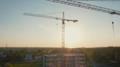 Aerial Drone Shot of Construction Site of Modern Glass Office Building in City Stock Footage