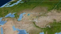 Uzbekistan - 3D tube zoom (Mollweide projection). Satellite - stock footage