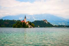 Bled lake with island, Slovenia Stock Photos