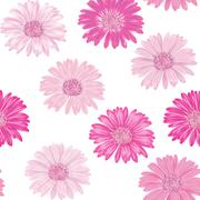 Seamless background with pink and purple gerbera. Vector EPS-10 Stock Illustration