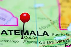 Coban pinned on a map of Guatemala Stock Photos
