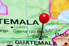 Zacapa pinned on a map of Guatemala Stock Photos