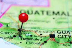 Retalhuleu pinned on a map of Guatemala Stock Photos