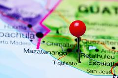 Tiquisate pinned on a map of Guatemala - stock photo