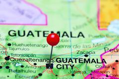 Guatemala City pinned on a map of Guatemala Stock Photos