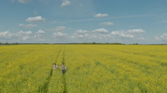 Happy couple running in rape field Stock Footage