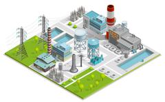 Vector Illustration Of Boiler Factory - stock illustration