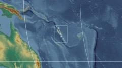 Vanuatu - 3D tube zoom (Kavrayskiy VII projection). Relief Stock Footage