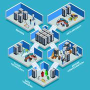Datacenter Isometric Design Concept Stock Illustration
