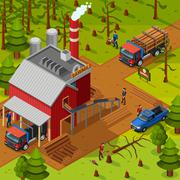 Lumberjack Isometric Composition Stock Illustration