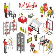 Art Studio Isometric Set Stock Illustration
