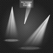 Vector Spotlights. Light Effects. White glow. Really transparent effect - stock illustration