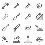 Vector illustration of thin line icons - carpentry Stock Illustration