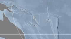 Vanuatu - 3D tube zoom (Mollweide projection). Bumps Stock Footage