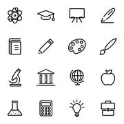 Vector illustration of thin line icons - education Stock Illustration